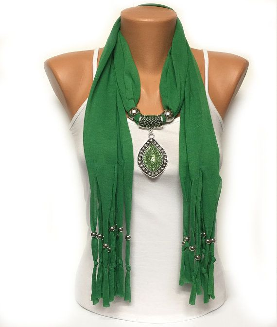 green  jewelry scarf with beads Christmas gift or for