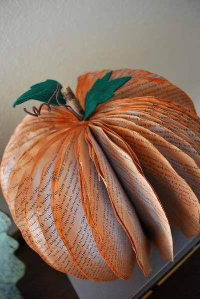 DIY Paper Jack-O'-Lanterns - Recycled Book Pumpkin Decorations are Halloween Decor without the Mess