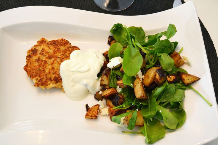 Roasted greek vegetables with tofu pancakes and fetacheese