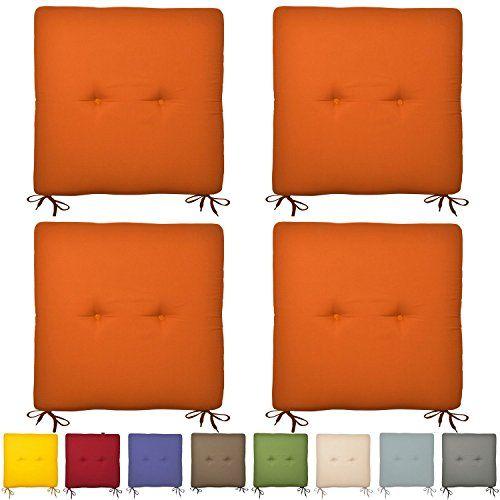 4er Set Sitzkissen Soraya - Stuhlkissen 40x40 cm in Orange - Bunte Kissen f�r Stuhl und Boden - in vielen Farben
