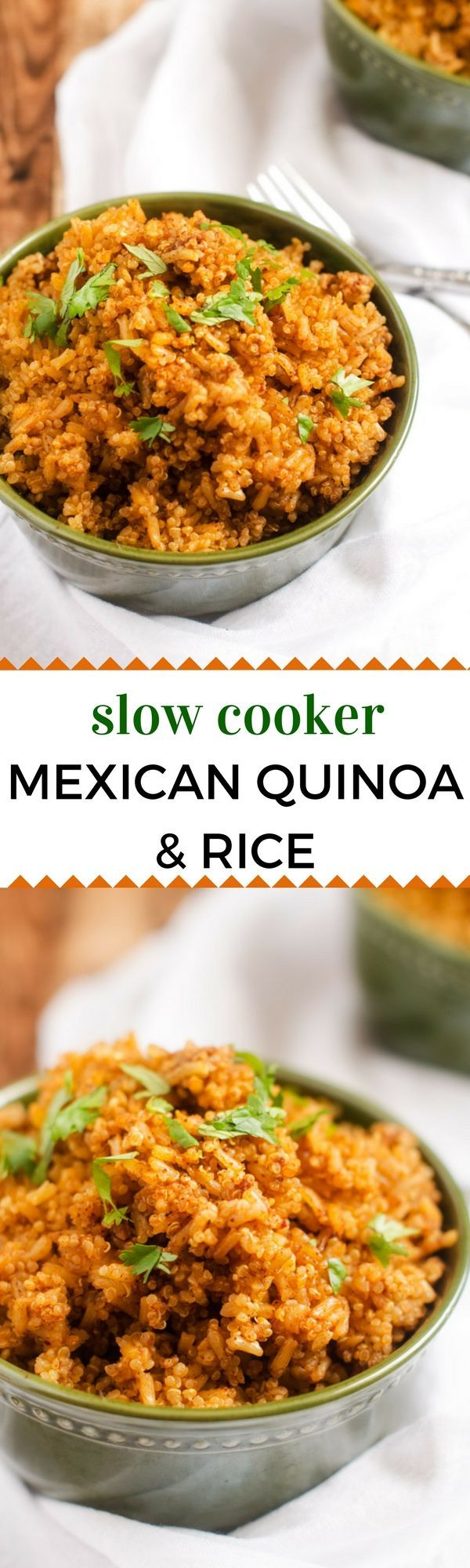 Slow Cooker Mexican Quinoa & Rice - This Slow Cooker Mexican Quinoa & Rice is a healthy and easy vegan side dish that even the most…