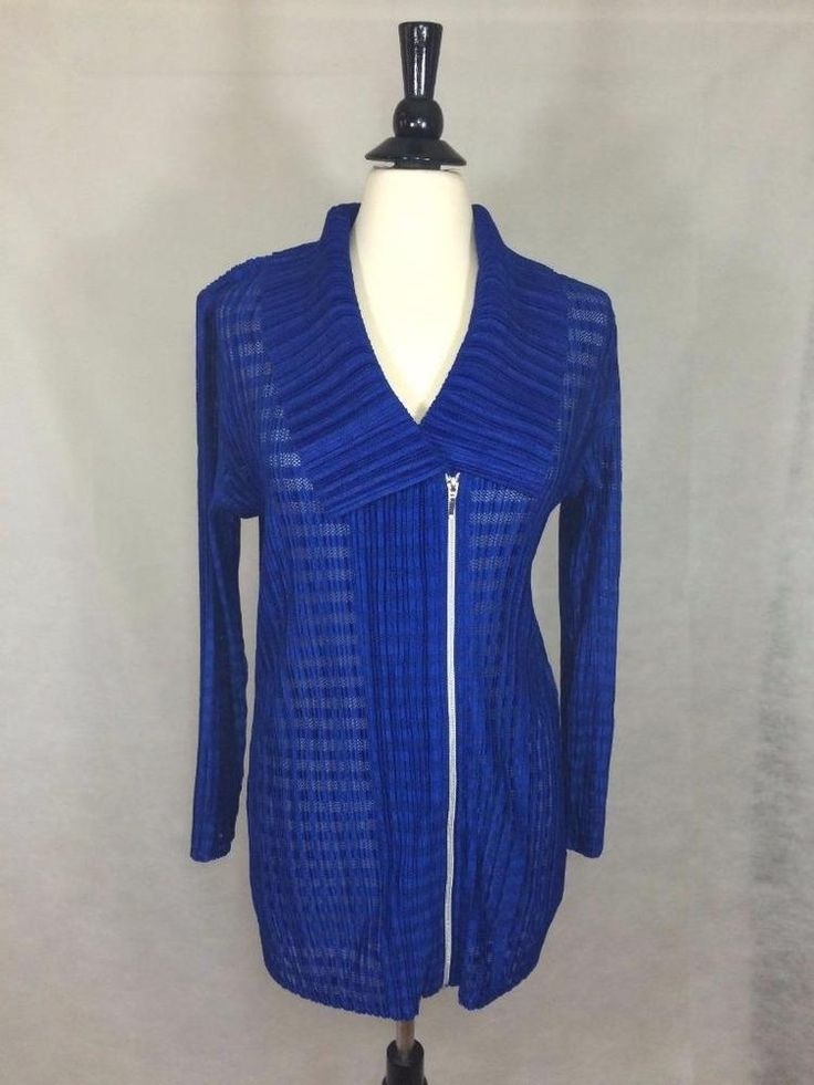 CHICO'S SZ 2 12/14 NEW $129 Travelers Pleated Up Zip Jacket Blue Womens Top NWT #Chicos #Jacket #Casual