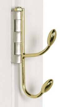 This is awfully clever! Take out your hinge-pin, put one of these hooks in place, then slide the hinge-pin back in! More styles and info at the link.