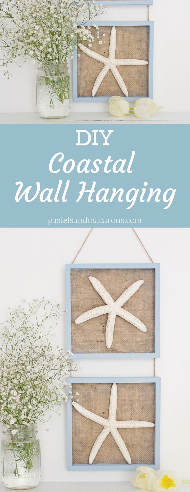 Nautical Wall Decor - Coastal Wall Hanging is a super easy to make burlap craft. This DIY project is super easy. Get some starfish, some burlap fabric and a few other bits and you can make something spectacular for any room in your home!