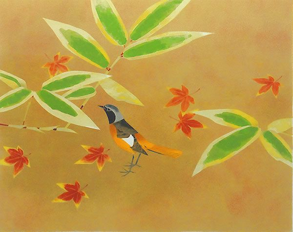 'Daurian Redstart' lithograph by Atsushi UEMURA