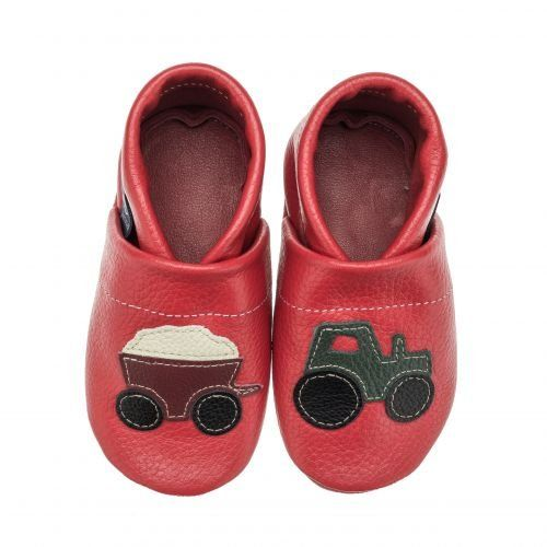 pantau.eu Kinder Lederpuschen Traktor mit Anhänger, Rot-Grün-Braun-Beige-Schwarz, Größe 35 - http://on-line-kaufen.de/pantau-eu/35-fusslaenge-bis-22-8cm-sohlenlaenge-23-6cm-eu-mit-12