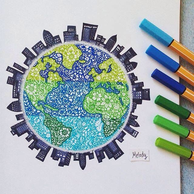 Stabilo zentangle art of the earth and surrounding city skyline