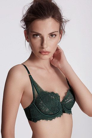 So the bra here is kind of pretty but mostly I love this because you hardly ever see flat chested (A cups) models in lingerie!