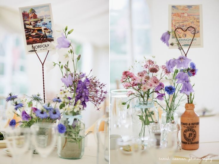 Marquee wedding - country garden flowers, bottles, jam jars, postcards, bunting, vintage