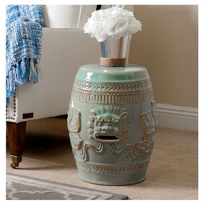 Chinese Lion Antique Teal (Blue) Ceramic Garden Stool - Abbyson Living