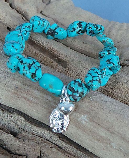 Armband van By Sas gemaakt van Turkoois nuggets, sterling zilveren buddha en hartjes bedel