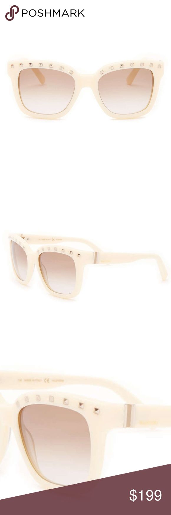 Valentino Studded Ivory Retro Sunglasses New With Tags - Women's Retro Valentino sunglasses with silver tone studded browline, acetate Ivory frames and Ivory gradient lenses with 100% UV Protection. Case and cleaning cloth included. Will come in Valentino box. Made in Italy. Valentino Accessories Sunglasses