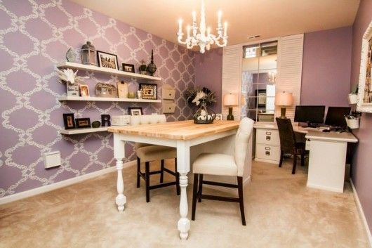 This is a purple stenciled accent wall in a home office for Home office accent wall