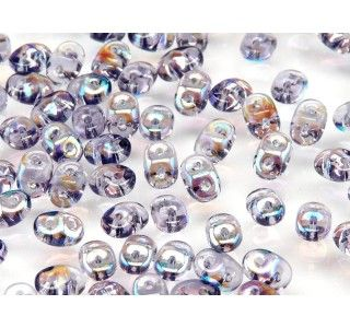 20gr Czech Two-Hole Seed Beads SuperDuo 2.5x5mm TANZANITE AB