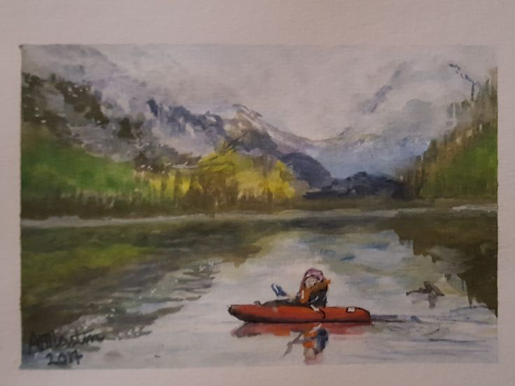 #OpusDailyPractice Today's word promt is Adventure. This is a photo of my sister Jody kayaking on a lake on Vancouver Island. Painted using Inktense Blocks.
