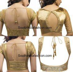 Gold Blouse Patterns for Sarees, saree blouse designs, gold color blouse back neck models