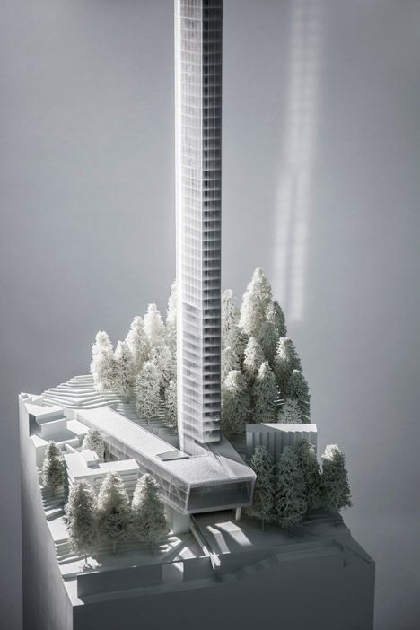 """Morphosis unveils plans for """"Minimalist"""" skyscraper next to Zumthor's Therme Vals."""