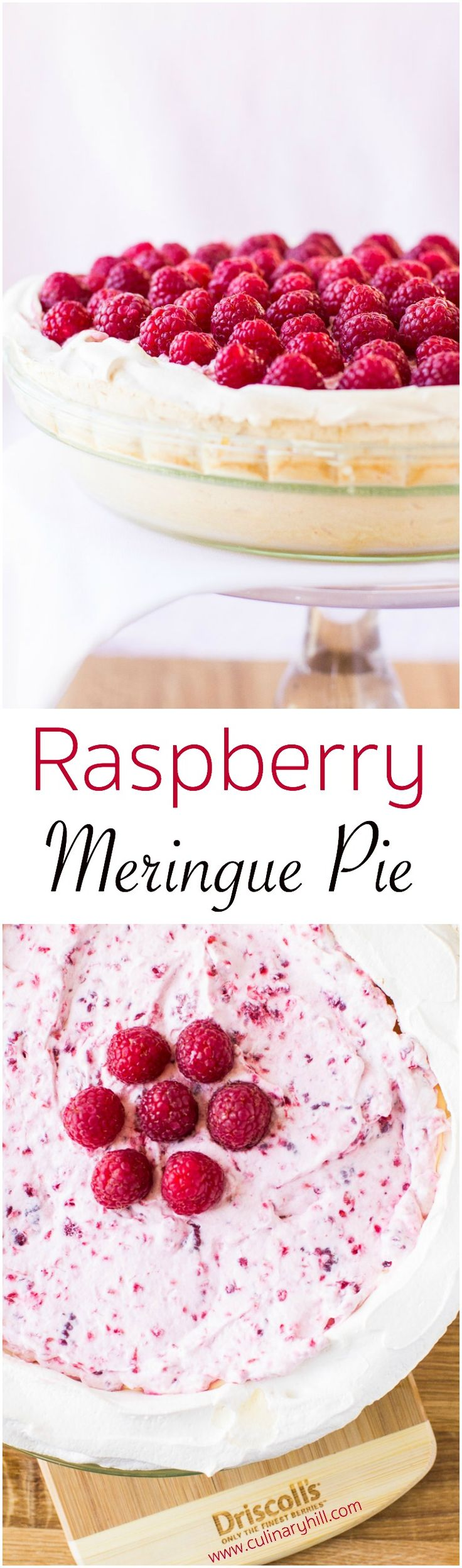 Showcase the first raspberries of spring with this luscious Raspberry Meringue Pie. A golden meringue crust is filled with a creamy lemon custard, then topped with sweetened berries folded into whipped cream. Naturally gluten free. #springwithdriscolls #berriesofspring
