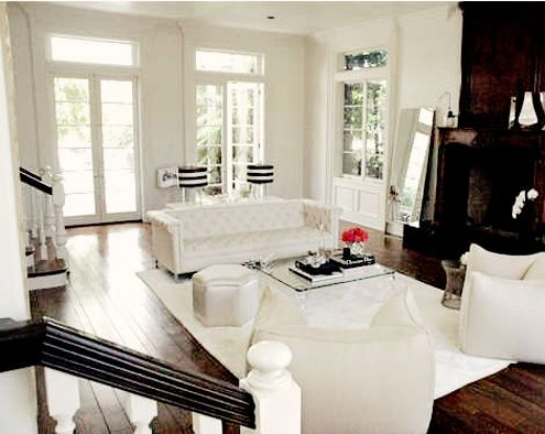 Rachel Zoe's house... dark wood floors and white walls... plus those lamp shades?? I DIE.