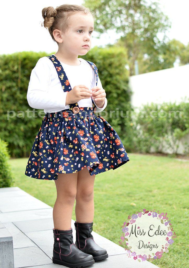 Totally adorable mini gathered flat front skirt. Sewing pattern by Pattern Emporium. Suspenders added by Miss Edee Designs. Pattern covers sizes 2-10.