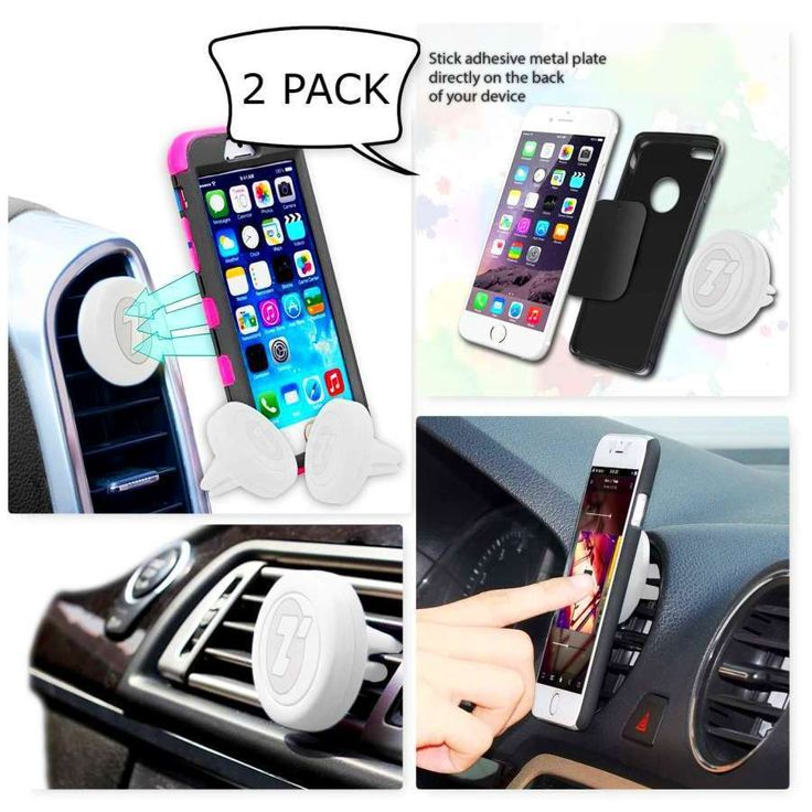 Car Mount Magnetic Air Vent Phone Holder 2 Pack Cradle Grip Magic Mobile Phone #ZoneTech