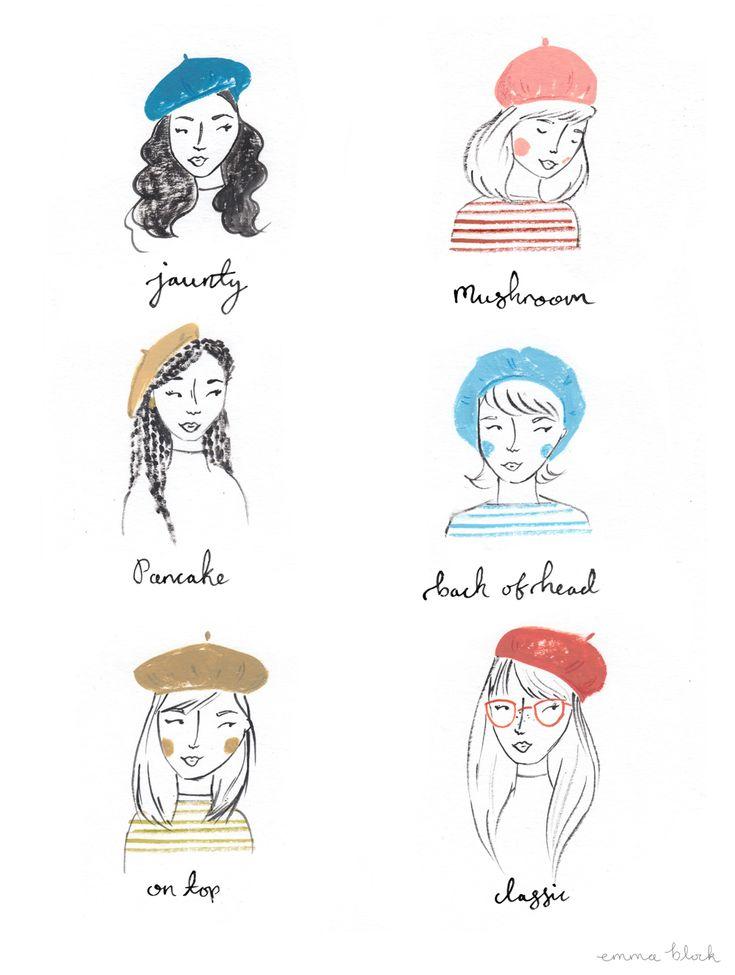 how to wear a beret illustration emma block
