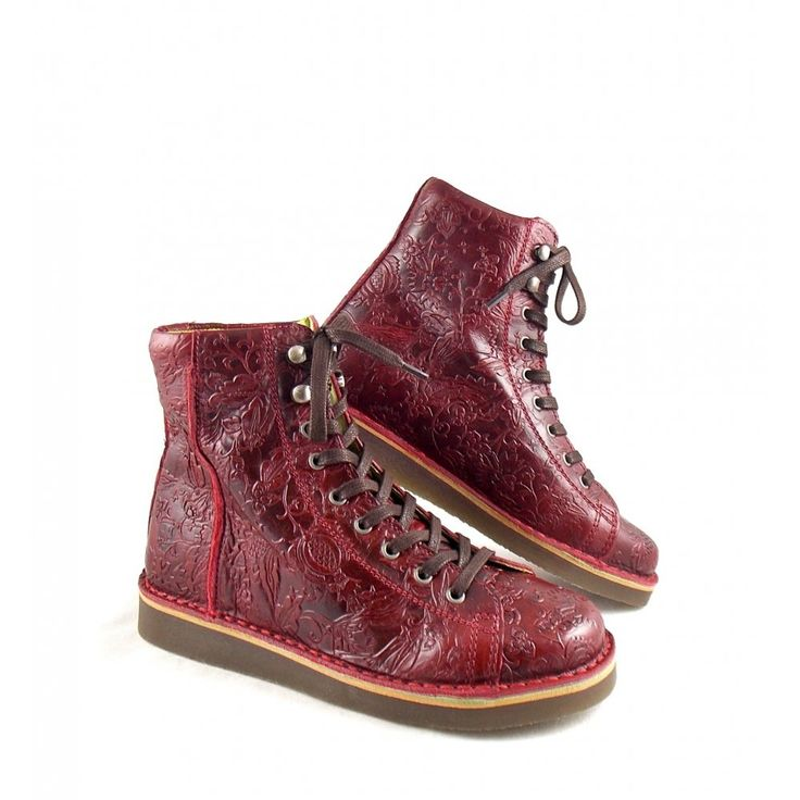 Women's Grünbein Louis Lace Up Ankle Boots in Burgundy Embossed Leather -  available online today at rubyshoesday with FREE UK delivery!