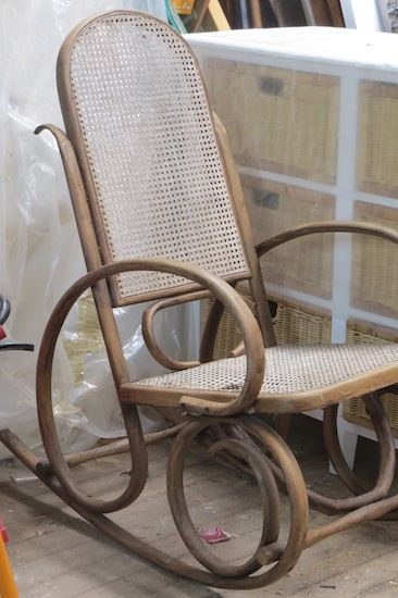 "Bentwood Rocker. Image taken from ""How to Restore an Old Wicker Rocking Chair"""