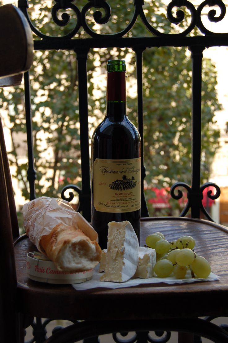 Paris balcony. The 3 B's... brie, baguette & Bordeaux Learn more about the wine regions of France.  Minus the Bordeaux pour moi.