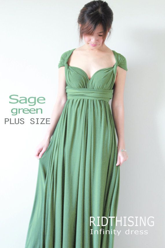 Plus Size Sage Green Bridesmaid Dress Maxi infinity by RIDTHISING