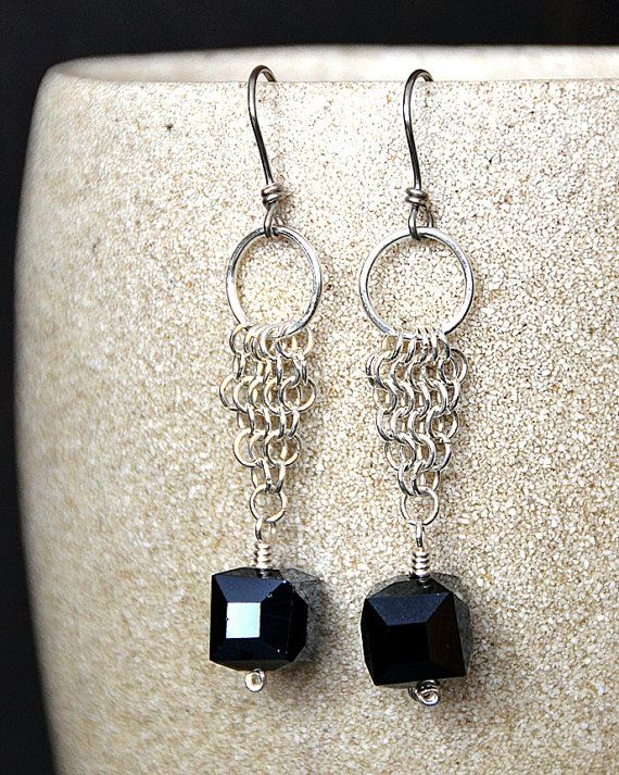 Chain Maille Earrings with Faceted Black Glass Squares
