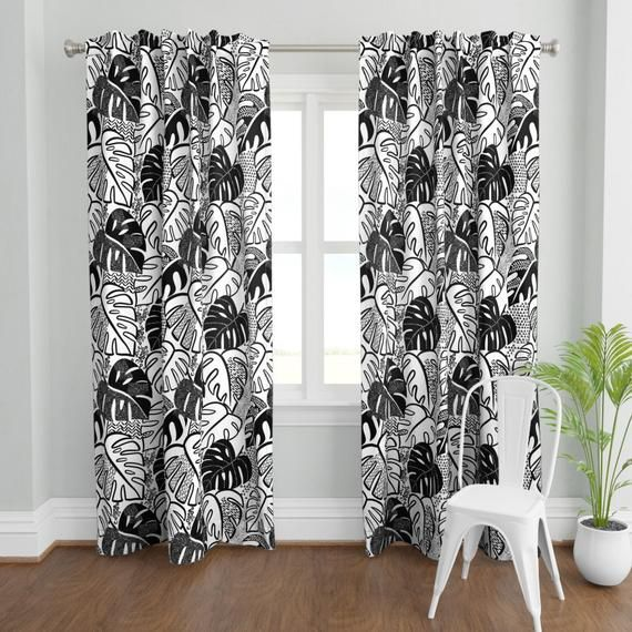 Tropical Curtain Panel Patterned Monstera B By Laura May Designs