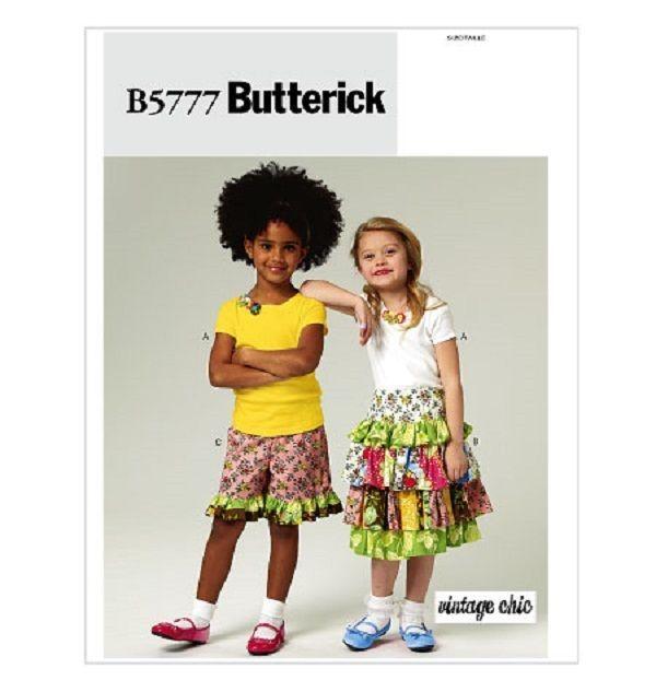 Little Girls Pattern New Butterick 5777 UNCUT Ruffle Skirt Shorts sz 6 7 8 #Butterick
