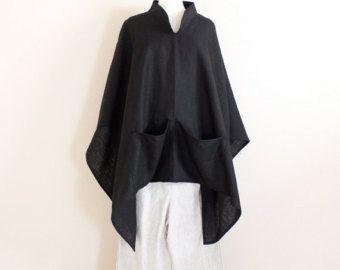 linnen outfit slikken poncho en Aziatische broek handgemaakte te petite te plus grootte meten door annyschoo