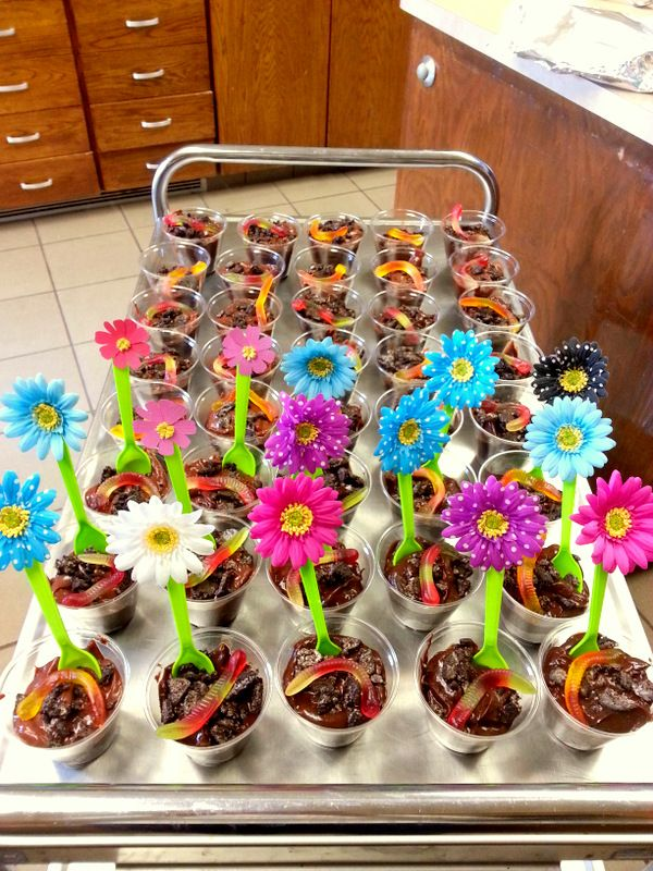 Bloom Where You Are Planted Dessert (Cup Of Dirt with flower spoons- made by the girls)