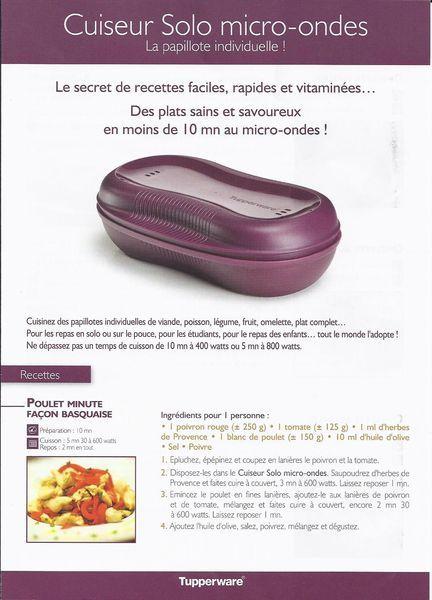 Fiche recette cuiseur solo micro-ondes 1/3 - Tupperware : Poulet minute façon basquaise