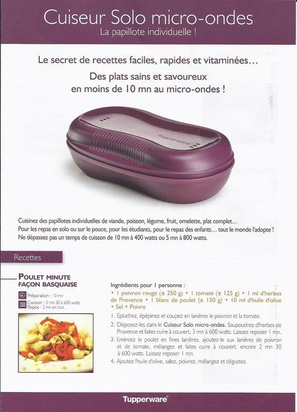 fiche recette cuiseur solo micro ondes 1 3 tupperware poulet minute fa on basquaise. Black Bedroom Furniture Sets. Home Design Ideas