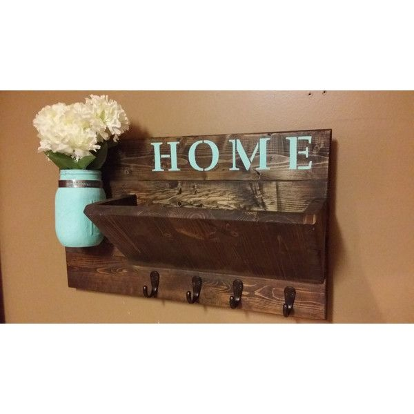 Rustic Mail Holder (€38) ❤ liked on Polyvore featuring home, home decor, home & living, home décor, wall décor, wall hangings, white, rustic jars, reclaimed wood sign and colored jars