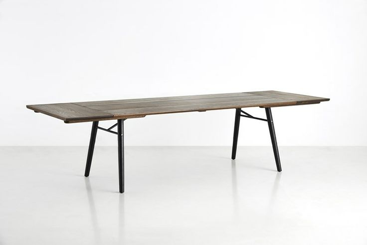 Split dining table, smoked oil treated oak - seen with two extensions - with room for 12 people • Designed by Says Who #diningtable #table #planktable #design #WOUDdesign