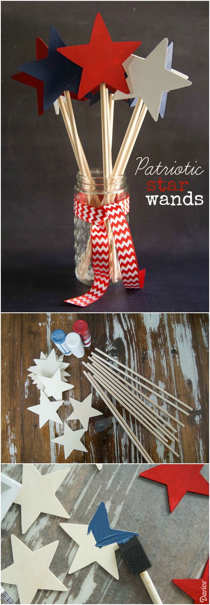 Kids will love waving these patriotic craft star wands at the 4th of July parade!