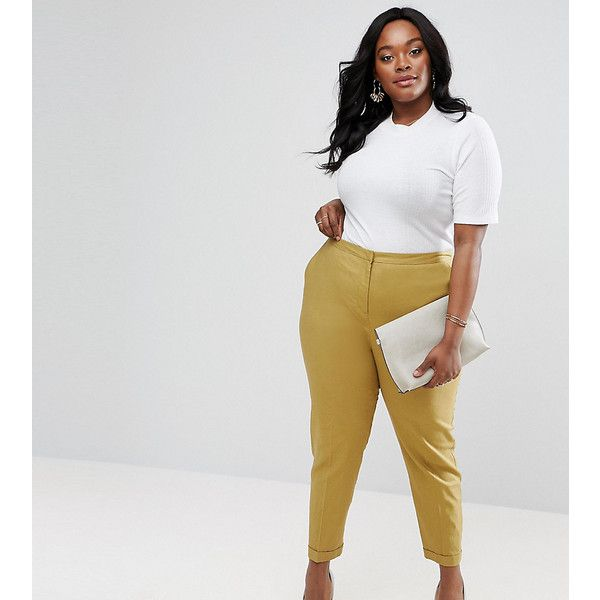 ASOS CURVE Linen Cigarette Pant ($23) ❤ liked on Polyvore featuring plus size women's fashion, plus size clothing, plus size pants, green, plus size, high waisted cigarette pants, zipper pants, women's plus size tall pants, tall pants and high waisted loose pants