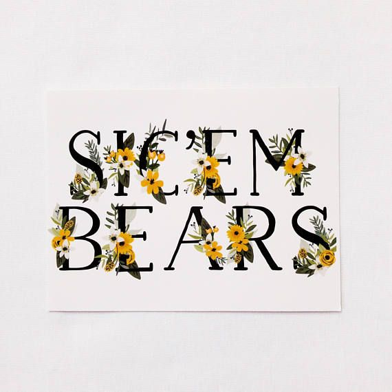 FLORAL SICEM NOTECARD Pack of Three Baylor University Bears