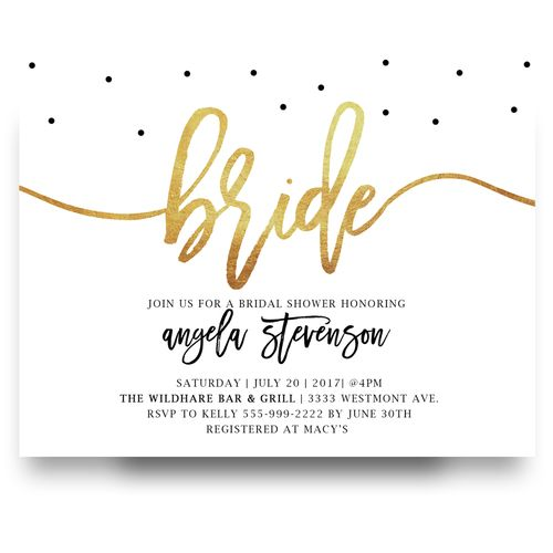Gold Foil, Baby Shower Invitation, Gold, Cheap Bridal Shower Invitation,  Modern Bridal