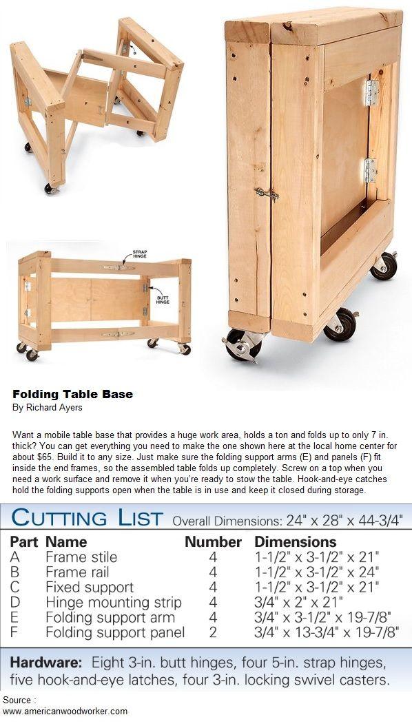 Folding Table Base Diy Proyectos Pinterest Garage
