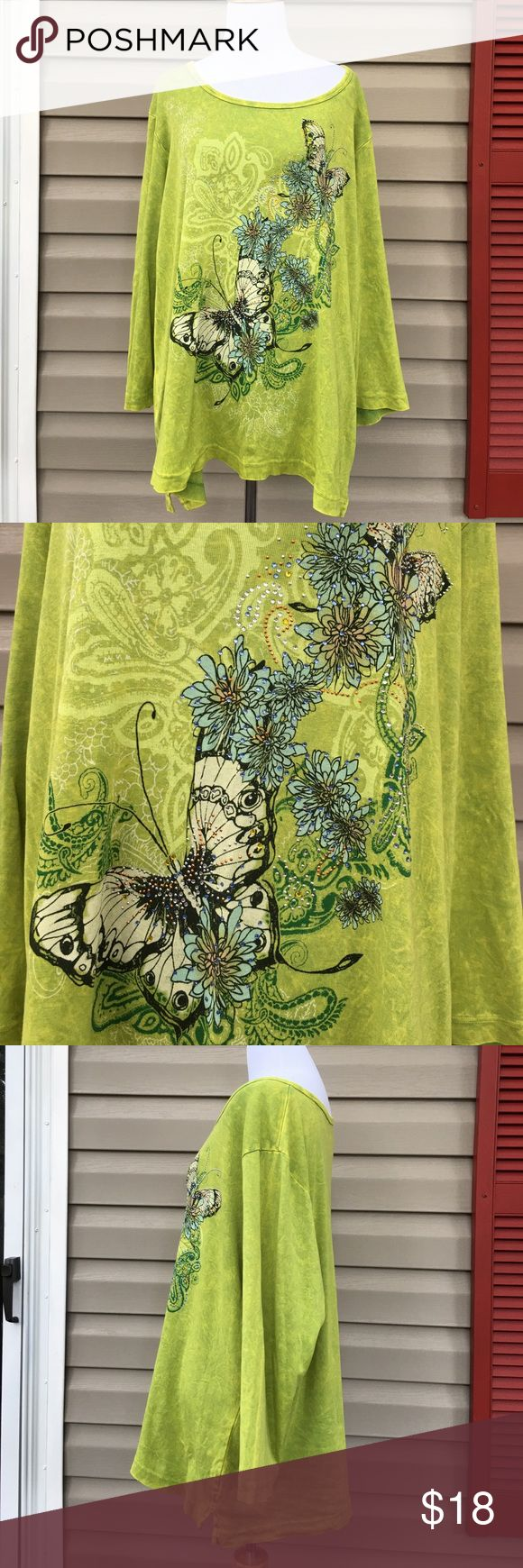 """Westbound woman 3/4 sleeve green shirt Nice women's 100% cotton shirt with flowers and butterflies on front. Green / yellow tye dyed looking fabric. No stains, snags or holes. Measures 25""""W x 28"""" L Westbound woman Tops"""