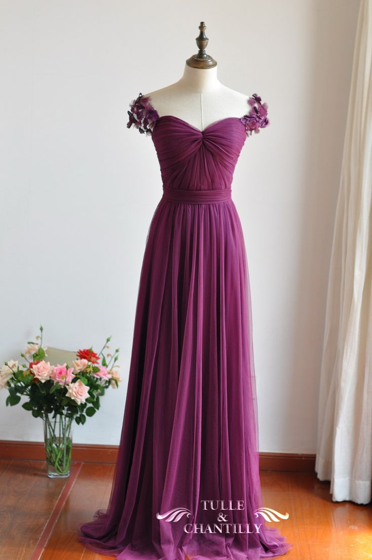eggplant sweetheart fall bridesmaid dresses with floral straps 2015