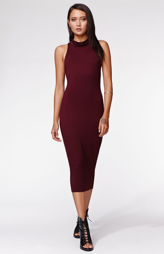 the turtleneck jersey midi dress by kendall for