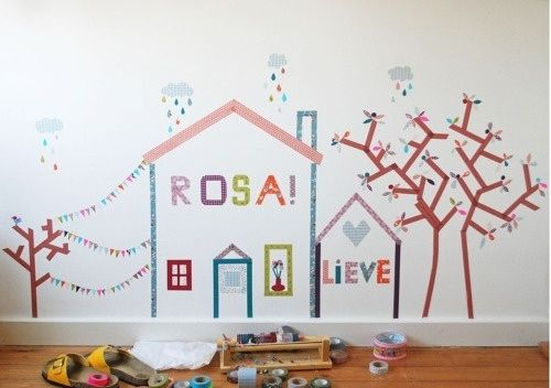 Create a mural in a kid's room. | 56 Adorable Ways To Decorate With WashiTape