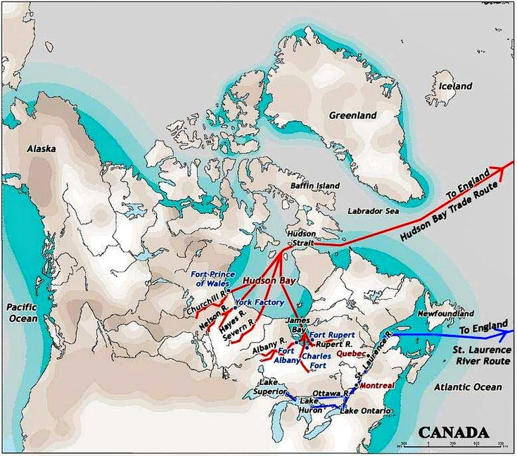 Hudson's Bay Co. trade routes in the Canadian bay of the same name. Circa 18th century