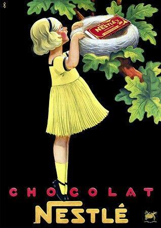 Vintage Advertising Posters : Nestle Chocolate / Ancienne affiche publicitaire: Chocolat Nestlé